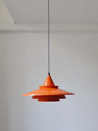 1960s Danish tiered orange pendant lamp