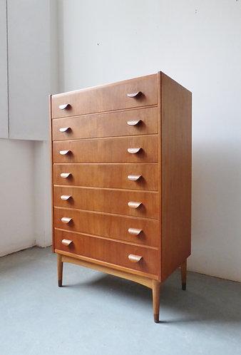 Mid-century Danish teak chest of 7 drawers