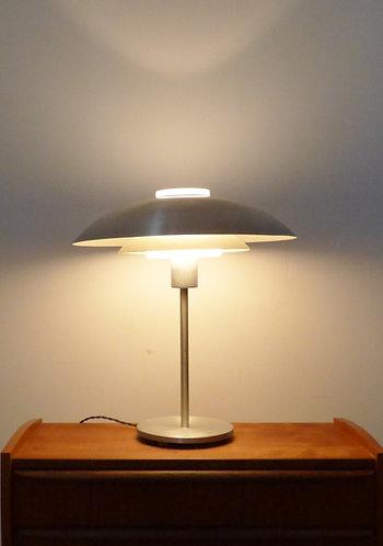 1950s Danish tiered aluminium and glass desk lamp