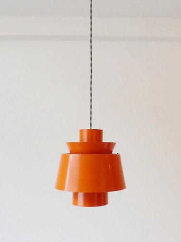 1960s Danish orange tiered pendant light