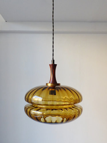 1960s amber glass and rosewood pendant lamp