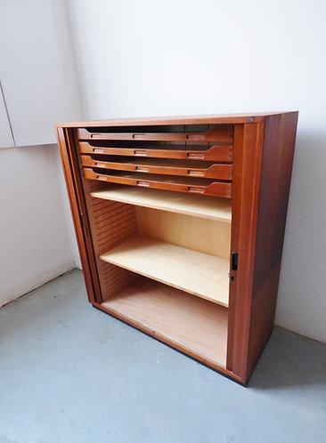 Large Danish Nipu teak tambour cabinet internal drawers and shelves
