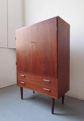Danish teak linen cabinet with drawers