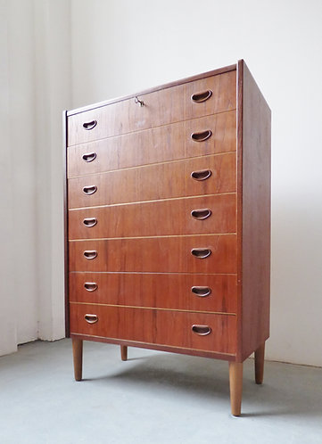 1950s Danish teak tallboy with recessed handles