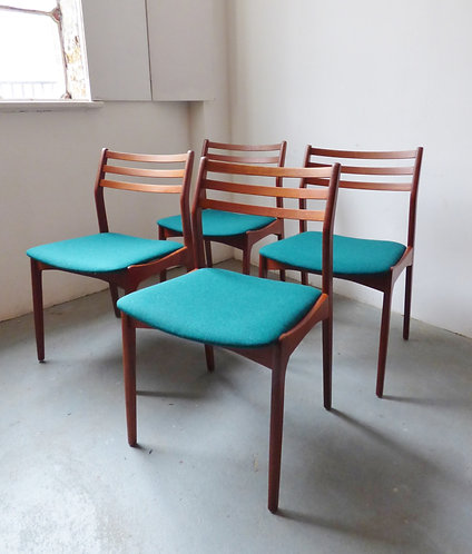 Set of 4 mid-century Danish dining chairs by Vestervig Eriksen