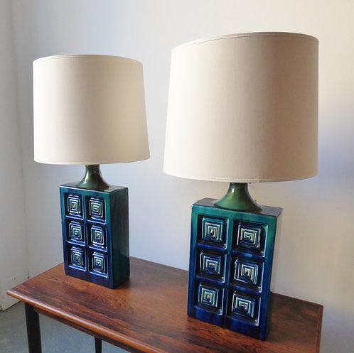 Blue ceramic lamps pair