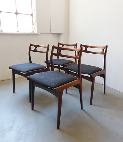 Set of 4 mid-century Danish rosewood chairs by Johannes Andersen