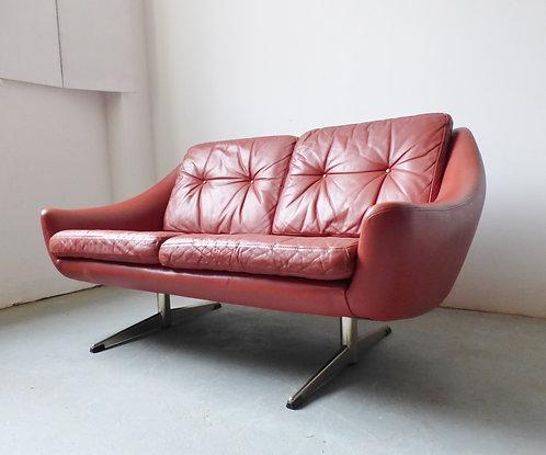 1960s Danish leather 2 seater