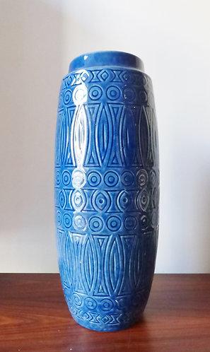 Large 1970s blue West German vase