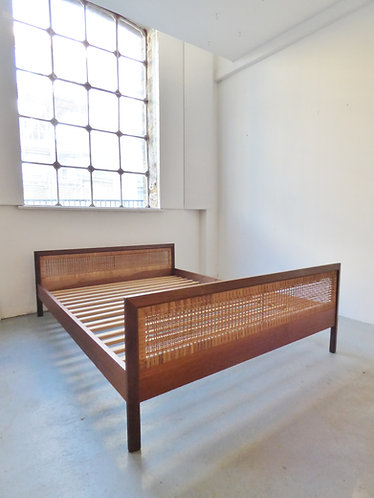 Mid-century Danish teak and cane double bed