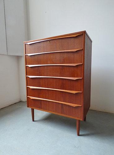1960s Danish light teak tallboy chest