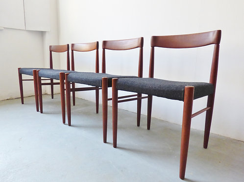 Set of 4 mid-century Danish teak dining chairs with charcoal seats