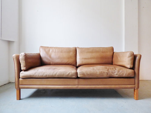Danish light tan leather sofa by Mogens Hansen - large 2 seater