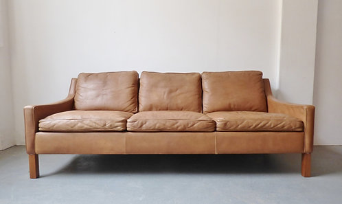 Vintage Danish leather 3 seater with low arms