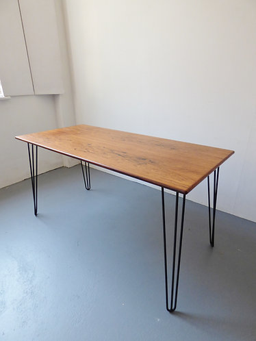 Rosewood dining table / desk with black hairpin legs
