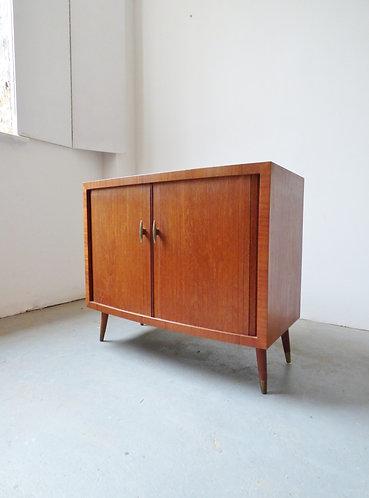 1950s teak tambour record cabinet