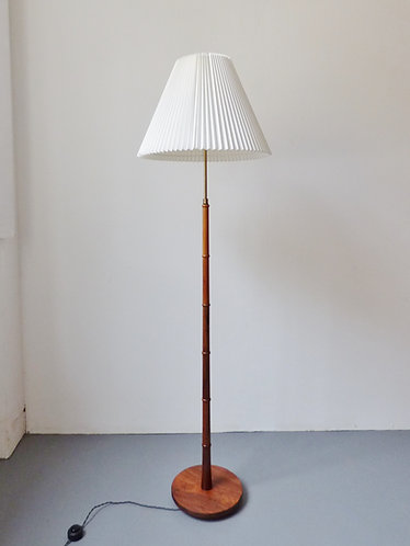 Mid-century Danish rosewood lamp with pleated shade