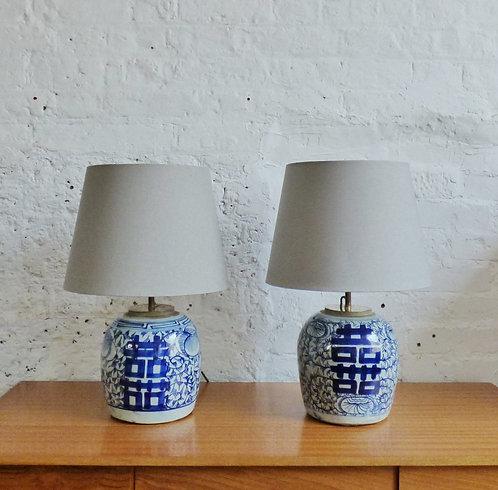 Vintage oriental ceramic bedside table lamps
