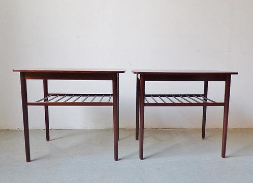 Danish rosewood side table with magazine shelf