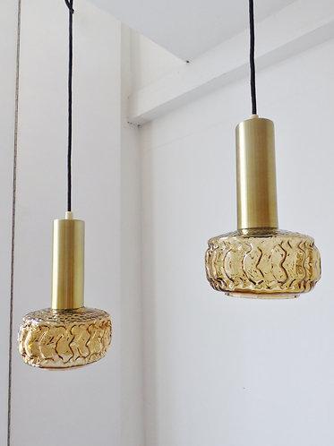 Pair of 1970s Danish amber glass pendant lamps