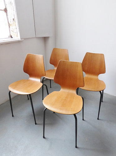 Set of 4 vintage Danish oak and metal dining chairs