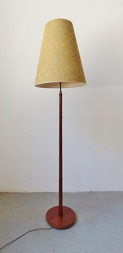 Mid-century Danish teak standard lamp with yellow woven shade