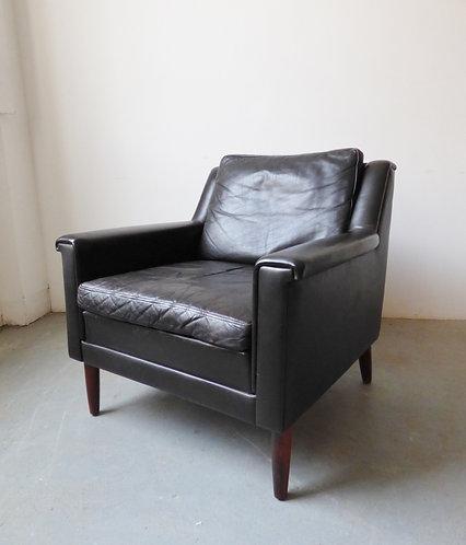 Mid-century Danish dark brown leather armchair