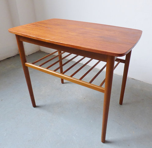 Small teak side table with magazine shelf