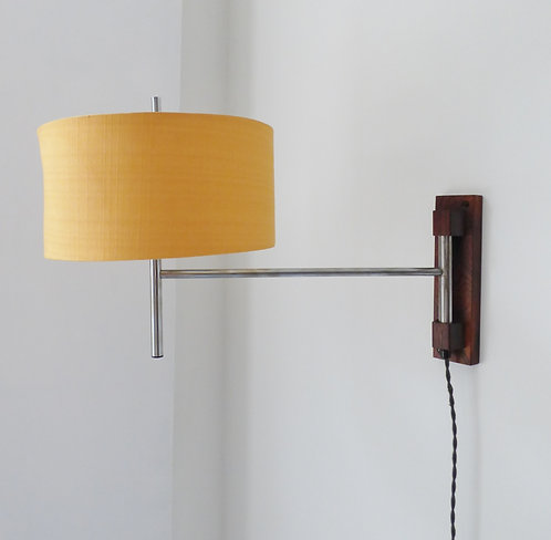1960s Danish rosewood and metal wall lamp
