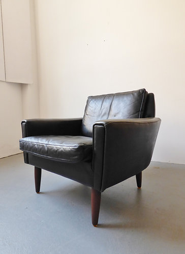 Mid-century Danish black leather armchair