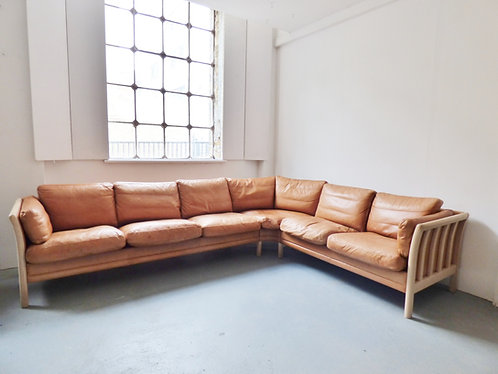 Danish tan leather corner sofa front view