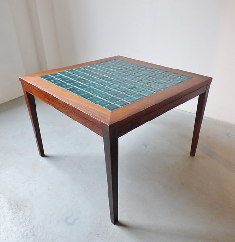 1960s Danish rosewood coffee table with teal tiles