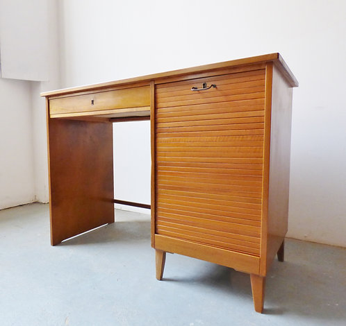 Vintage Danish beech desk with tambour door