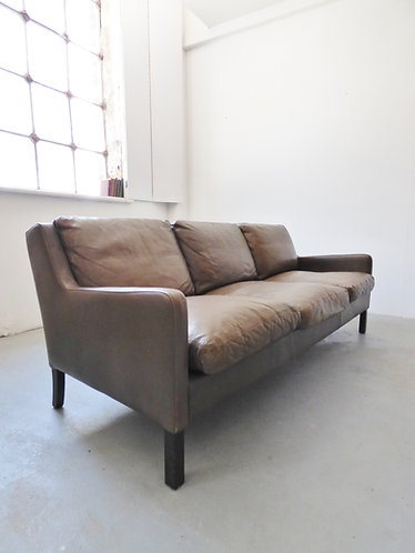 Vintage Danish dark olive green 3 seater sofa