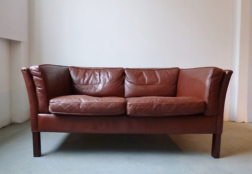 Classic Danish 2 seater leather sofa, oxblood/dark brown