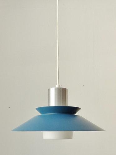 1960s Danish blue and chrome pendant lamp