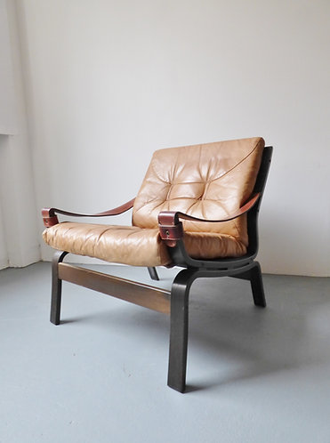 Norwegian tan leather and bentwood chair front view