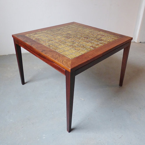 Danish rosewood coffee table with green tiles