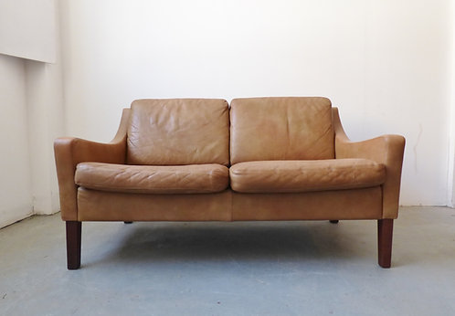 Danish leather 2-seater sofa with low arms