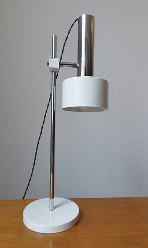 Vintage Danish chrome and white desk lamp