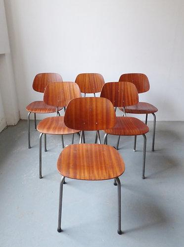 Mid-century Danish teak stacking chairs