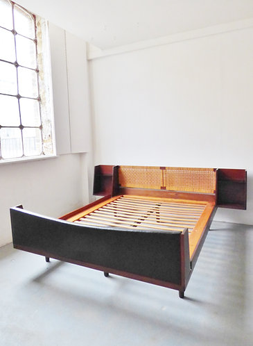 Double cane and teak bed by Hans Wegner for Getama