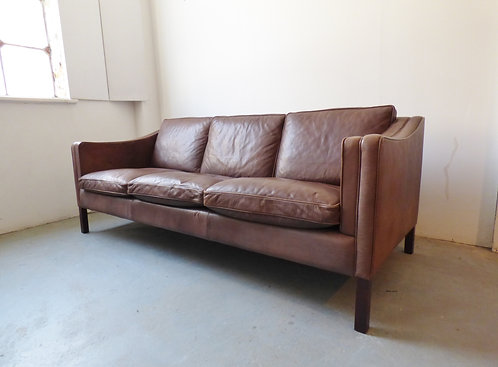 Danish brown leather 3 seater sofa - Stouby Møbler