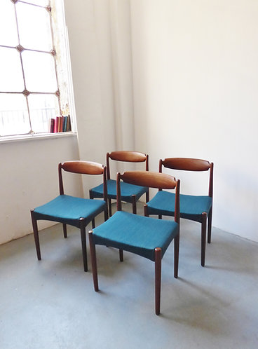 Set of 4 Danish teak dining chairs with teal seats