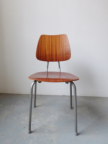 1960s Danish teak and metal stacking dining chairs