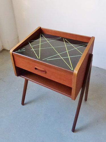 Mid-century Danish teak bedside table with patterned glass top