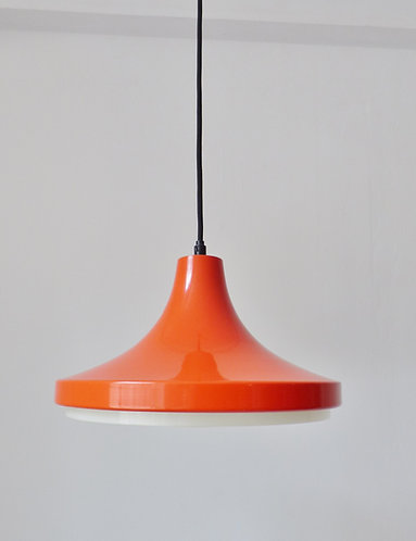 1960s Danish orange enamel pendant light