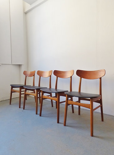 Set of 4 Danish teak and oak dining chairs