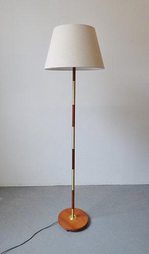 Danish teak and brass standard lamp