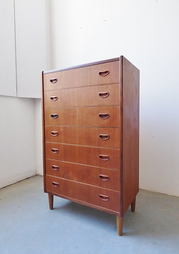 Mid-century Danish teak tallboy with 7 drawers by Westergaard